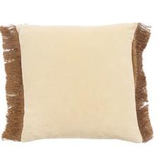 Nordal Nordal - Cushion cover met franjes Cream/Yellow 48x48 (incl. Vulling)