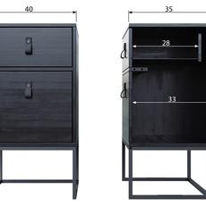 Maurits Nachtkast Zola met lade en deur 74x40x35 cm