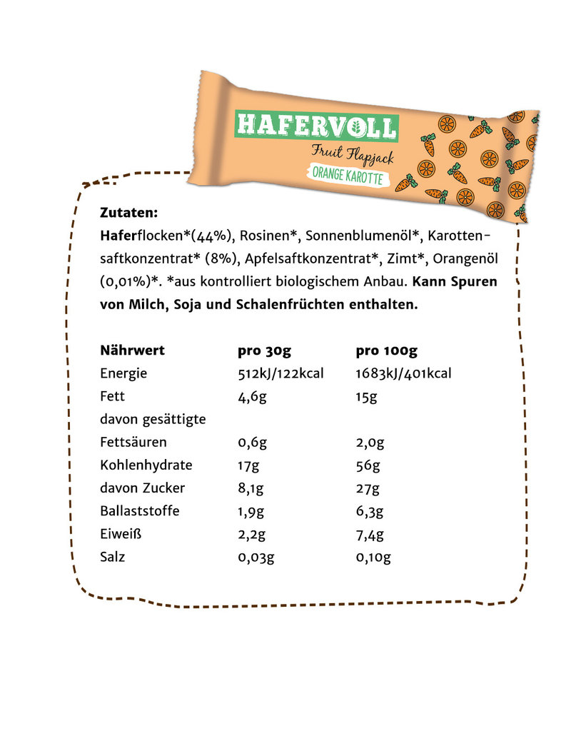 HAFERVOLL Orange Karotte - 18 Riegel - Bio