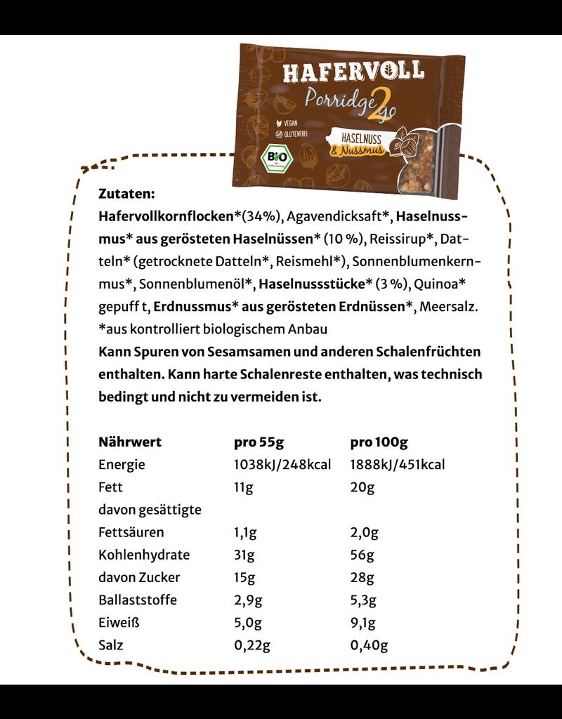 HAFERVOLL 13er Box - Porridge2go Haselnuss