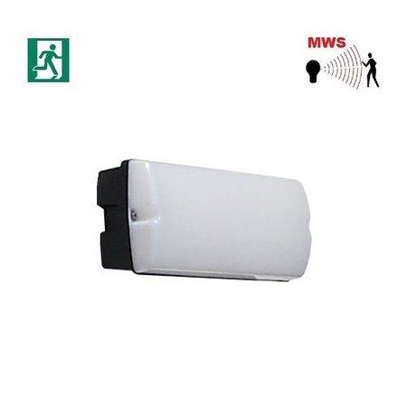4MLUX Rhea LED Base-line 2,5-9,5W, laag 155/hoog 745 lumen, met nood (165 lumen, 2W), met bewegingssensor on/off of on/DIM(corridor-functie), 2700K, zwart/opaal
