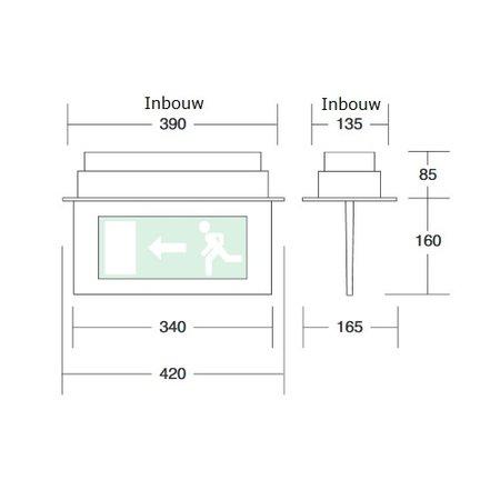 4MLUX Cassia 3W, inbouw, nood/continu of schakelbaar of alleen nood, 170/170 lumen, IP20, incl. pictoplaat naar keuze