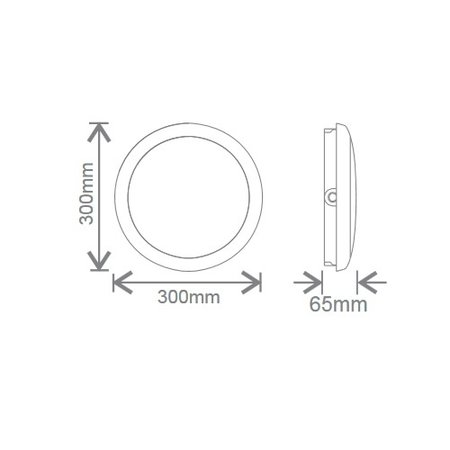 EM-Kosnic Ossa met witte rand, IP65 met LED PLQ 9/12/18W Multi-wattage en 3000/4000/5000K Multi-kleur instelbare LED lichtbron met bewegingssensor on/off of on/DIM(corridor functie)