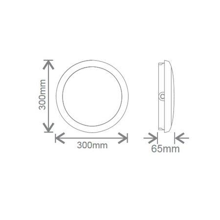 EM-Kosnic Ossa met witte rand, IP65 AT met LED PLQ 9/12/18 W Multi-wattage en 3000/4000/5000K Multi-kleur instelbare LED lichtbron met bewegingssensor on/off of on/DIM(corridor functie), incl. nood met Autotest