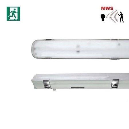 EM-Kosnic Avon LED 2x1200mm, 30W, met bewegingssensor on/off, met nood (Autotest), 3840 lumen, 4000K, met RVS clipsen