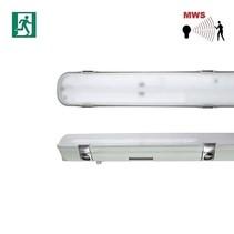 Avon LED 2x1500mm, 50W, met bewegingssensor on/off, met nood, 6630 lumen, 4000K, met RVS clipsen