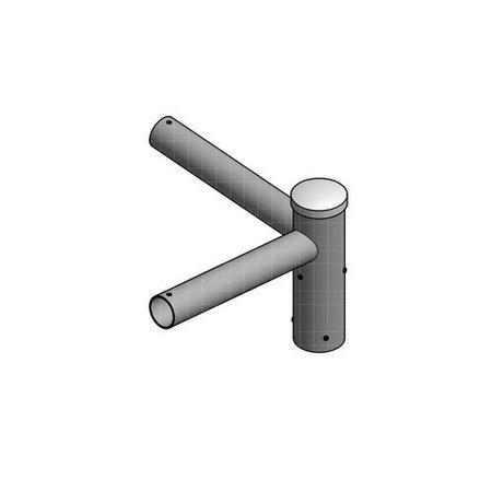 4MLUX Dubbele uithouder 90 graden, voor mast 60/76mm, lengte uithouders 350mm, topmaat 60 mm
