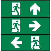Pictoproset 1, vluchtend persoon SET in DEUR pijl links, pijl rechts en pijl naar boven 30x10cm