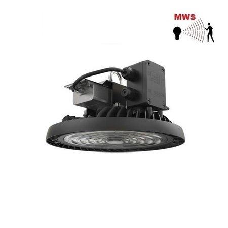 EM-Kosnic Nimbus LED High Bay, 150W, 21000 lumen, 5000K, 1-10V dimbaar, met instelbare bewegingssensor met corridor functie, 90 gr. Bundel