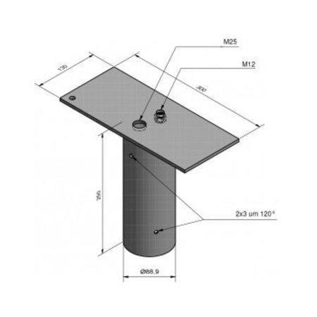 4MLUX Enkeleopzetstuk, voor mast 60/76mm, t.b.v. 1 schijnwerper