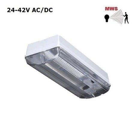 4MLUX Titan LED Base-line 5W, 24V of 42V AC/DC, 480 lumen, met bewegingssensor on/off, 3000K, lichtgrijs/helder