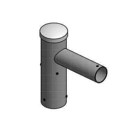 4MLUX Aluminium enkele uithouder, voor mast 60mm, lengte uithouders 150mm, topmaat 60 mm