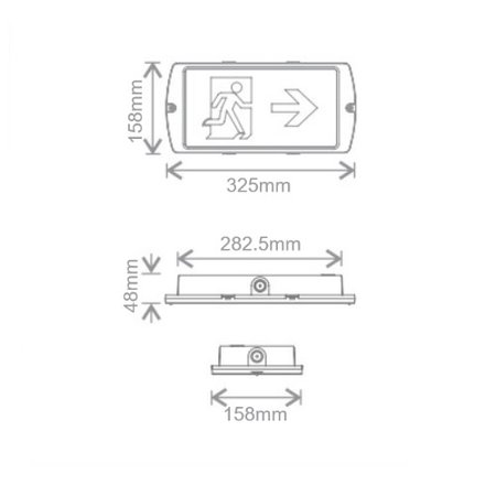EM-Kosnic Manot 6W, nood/continu of schakelbaar of alleen nood, 150/60 lumen, IP65, incl. 1 picto naar keuze
