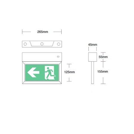 4MLUX Aleka LED wit AT, spanningsrail noodverlichting, nood/continu of schakelbaar of alleen nood, met Autotest, 40/35 lumen, IP20, incl. picto folieset