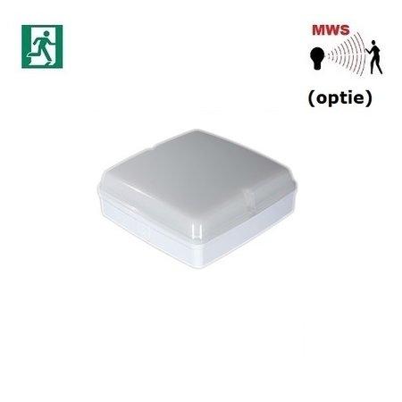 4MLUX Piazza LED Base-line 9,6W, met nood (165 lumen, 2W), 2700, 3000K of 4000K, 1090 lumen, wit/opaal (optie: bewegingssensor)