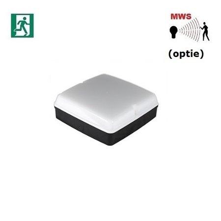 4MLUX Piazza LED Base-line 9,6W, met nood (165 lumen, 2W), 2700, 3000K of 4000K, 1090 lumen, zwart/opaal (optie: bewegingssensor)