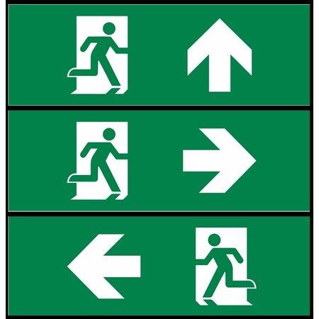 4MLUX Pictoproset 1, vluchtend persoon SET in DEUR pijl links, pijl rechts en pijl naar boven 30x12,5cm