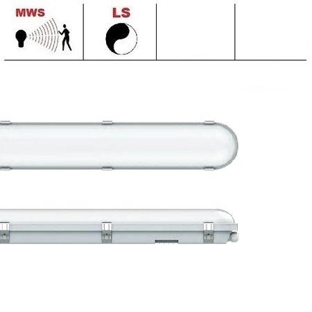 EM-Kosnic Congo Pro LED 2x1200mm, 36W, met bewegingssensor, 3950-4350 lumen, 3000-6000K CCT met instelbare LED kleur, met RVS clipsen