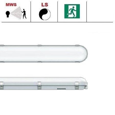 EM-Kosnic Congo Pro LED 2x1200mm, 36W, met bewegingssensor en nood, 3950-4350 lumen, 3000-6000K CCT met instelbare LED kleur, met RVS clipsen