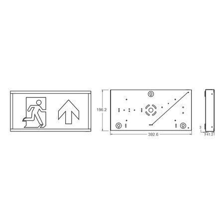 EM - Fox Lux Watchman Pro AT, noodverlichting-vluchtwegverlichting, nood/continu of schakelbaar of alleen nood (Autotest), IP20, wit incl. pictogram naar keuze