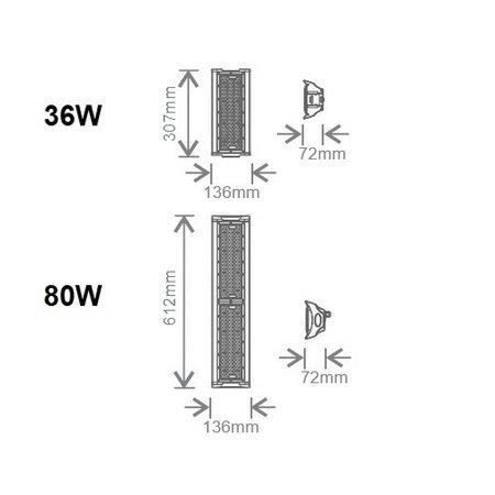 EM-Kosnic Culumus 80W, met bewegingssensor (ook corridorfunctie), 5000K, 12800 lumen, 40° LED Low Bay