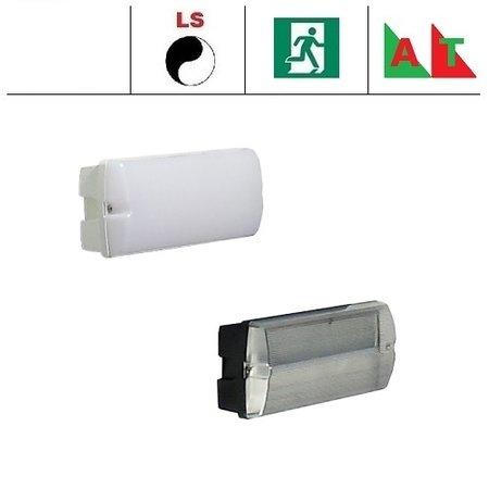 4MLUX Rhea Pro LED serie 5,2W, met lichtsensor en nood (Autotest), portiek/galerijverlichting, 3000 of 4000K, 660 lumen met wit of zwart poly-carbonaat onderhuis en opalen of heldere poly-carbonaat lichtkap