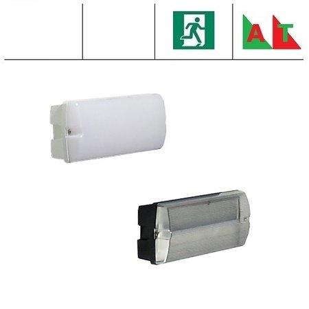 4MLUX Rhea Pro LED serie 5,2W, met nood (Autotest), portiek/galerijverlichting, 3000 of 4000K, 660 lumen met wit of zwart poly-carbonaat onderhuis en opalen of heldere poly-carbonaat lichtkap