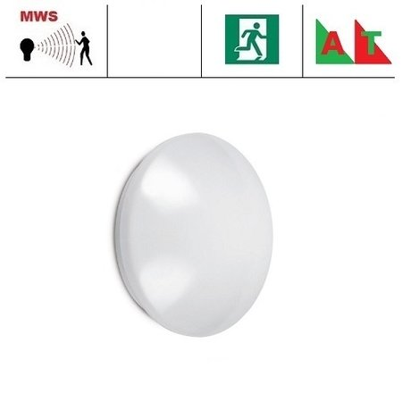 EM-Kosnic Pico-M AT,  IP44 met LED PLQ 9/12/18 W Multi-wattage en 3000/4000/5000K Multi-kleur instelbare LED lichtbron met bewegingssensor on/off of on/DIM(corridor functie), incl. nood met Autotest