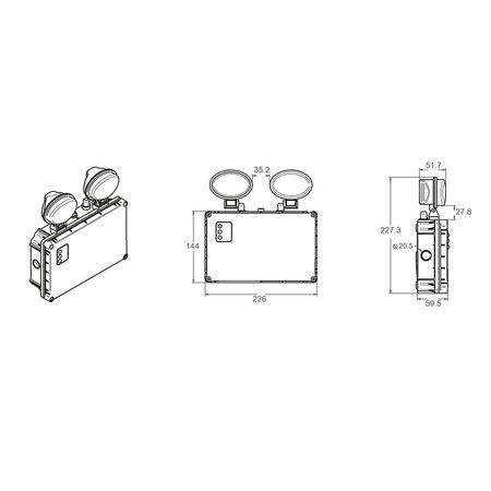 EM - Fox Lux Twin Spot Pro 3W AT, noodverlichting / anti paniekverlichting,  alleen nood (Autotest), 350 lumen, IP65