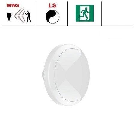 EM-Kosnic Ossa LED DD met witte rand, IP65 met LED PLQ 9/12/18 W Multi-wattage en 3000/4000/5000K Multi-kleur instelbare LED lichtbron met bewegingssensor on/off of on/DIM(corridor functie), incl. nood
