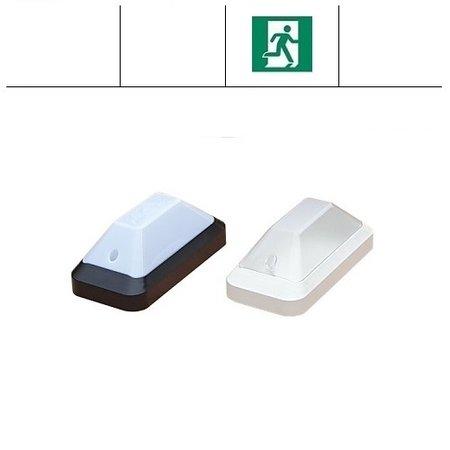 4MLUX KTP LED PLS portiek/galerijverlichting serie, met nood, geschikt voor o.a. G23 Osram Dulux S LED en Philips LED CorePro LED PLS lichtbronnen met wit of zwart poly-carbonaat onderhuis en opalen of heldere-frosted poly-carbonaat lichtkap