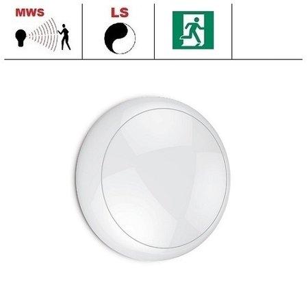 EM-Kosnic Blanca LED DD IP65 met witte rand  en bewegingssensor on/off of on/DIM(corridor-functie) en nood, met LED PLQ 12W 2700 of 4000K LED lichtbron, keuze maken bij bestelling