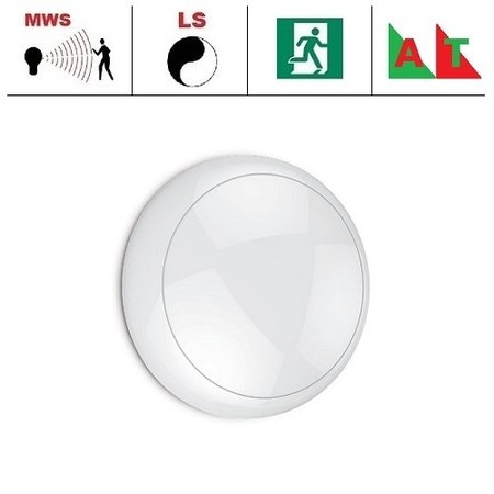 EM-Kosnic Blanca LED DD IP65 met witte rand  en bewegingssensor on/off of on/DIM(corridor-functie) en nood (Autotest), met LED PLQ 9/12/18 W Multi-wattage en 3000/4000/5000K Multi-kleur instelbare LED lichtbron