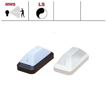 4MLUX KTP Pro LED portiek/galerijverlichting serie 9,6W, met bewegingssensor ON/OFF en lichtsensor, 3000 of 4000K, 1220 lumen met wit of zwart poly-carbonaat onderhuis en opalen of heldere-frosted poly-carbonaat lichtkap