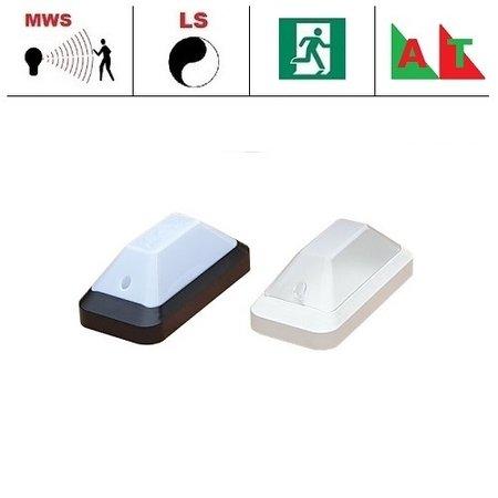4MLUX KTP Pro LED portiek/galerijverlichting serie 5,2W, met bewegingssensor ON/OFF, lichtsensor en nood (Autotest), 3000 of 4000K, 660 lumen met wit of zwart poly-carbonaat onderhuis en opalen of heldere-frosted poly-carbonaat lichtkap