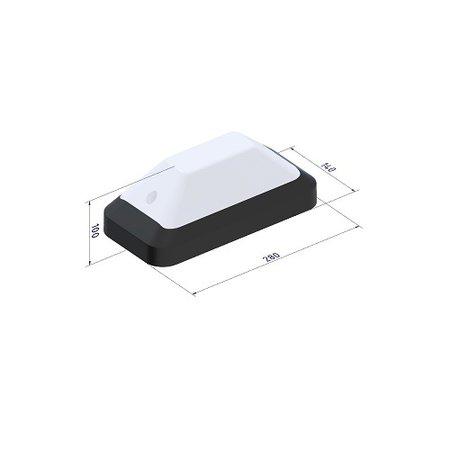 4MLUX KTP Pro LED portiek/galerijverlichting serie 9,6W, met bewegingssensor ON/OFF, lichtsensor en nood (Autotest), 3000 of 4000K, 1220 lumen met wit of zwart poly-carbonaat onderhuis en opalen of heldere-frosted poly-carbonaat lichtkap