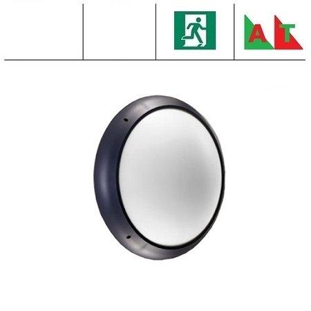 4MLUX Xeno XL LED serie 13,5W, hal en trappenhuisverlichting, met nood (Autotest), 3000 of 4000K, 1690 lumen met antraciete ring en opalen polycarbonaat lichtkap
