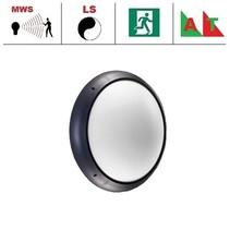 Xeno XL LED serie 13,5W, hal en trappenhuisverlichting, met bewegingssensor ON/OFF, lichtsensor en nood (Autotest), 3000 of 4000K, 1690 lumen met antraciete ring en opalen polycarbonaat lichtkap