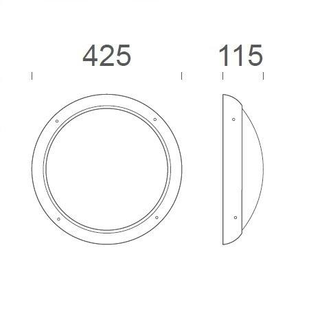 4MLUX Xeno XL LED serie 19,5W, hal en trappenhuisverlichting, met nood (Autotest), 3000 of 4000K, 2575 lumen met antraciete ring en opalen polycarbonaat lichtkap