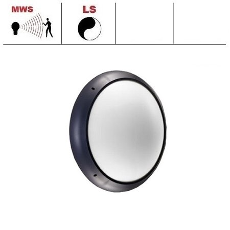 4MLUX Xeno XL LED serie 13,5/19,5W, hal en trappenhuisverlichting, met bewegingssensor ON/DIM (corridorfunctie) en lichtsensor, 3000 of 4000K, 1690/2575 lumen met antraciete ring en opalen polycarbonaat lichtkap