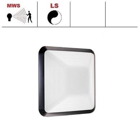 4MLUX Gio LED serie 9,6W, hal en trappenhuisverlichting, met bewegingssensor ON/OFF en lichtsensor, 3000 of 4000K, 1090 lumen met wit of zwart poly-carbonaat onderhuis en opalen polycarbonaat lichtkap