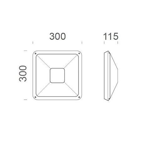 4MLUX Gio LED serie 9,6W, hal en trappenhuisverlichting, met nood (Autotest), 3000 of 4000K, 1090 lumen met wit of zwart poly-carbonaat onderhuis en opalen polycarbonaat lichtkap