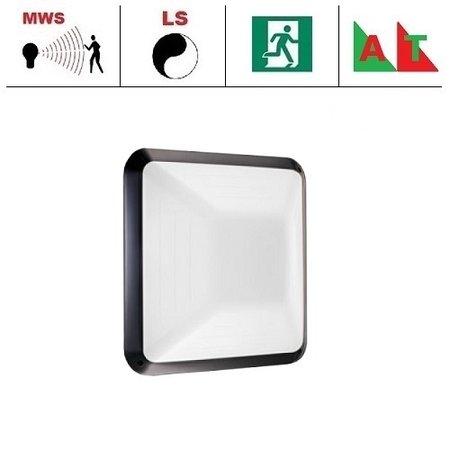 4MLUX Gio LED serie 9,6W, hal en trappenhuisverlichting, met bewegingssensor ON/OFF, lichtsensor en nood (Autotest), 3000 of 4000K, 1090 lumen met wit of zwart poly-carbonaat onderhuis en opalen polycarbonaat lichtkap