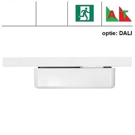 - EMtrac 2,2W, spanningsrail noodverlichting, alleen nood met autotest (zelftest), 209 lumen, met witte of zwarte behuizing (optie DALI uitvoering)