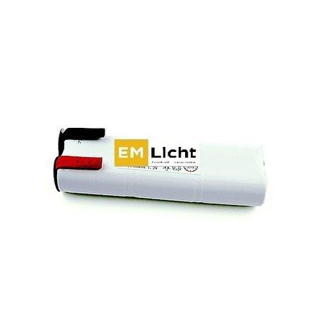 4MLUX Batterij 7,2V-1,5Ah, rechthoek, Sub C cel, NiCd, afmetingen: L 44 x H 126mm, met faston (Bijpassende dradenset of dradenset met connector dienen los erbij besteld te worden)