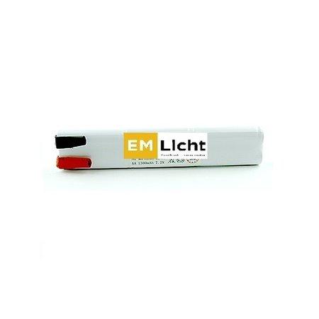 4MLUX Batterij 7,2V-1,3Ah, 2 x staaf, AA cel, NiMH, afmetingen: L26 x H 150mm, met faston (Bijpassende dradenset of dradenset met connector dienen los erbij besteld te worden)