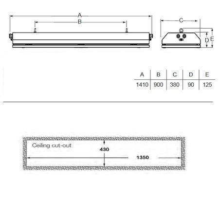 4MLUX FIS 54 LED serie, zone 1, 2, 21 en 22 EX explosieveilige (inbouw) noodverlichting (ATEX), 54W, 5685 lumen, IP66