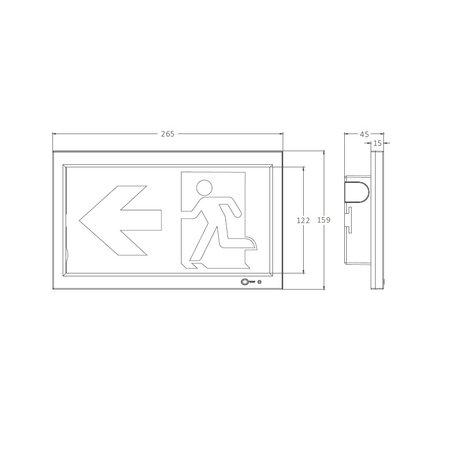4MLUX Espen serie, type I, LED 2,5W, zelftest, nood/continu of schakelbaar of alleen nood, 32 lumen, IP20, incl. picto folieset