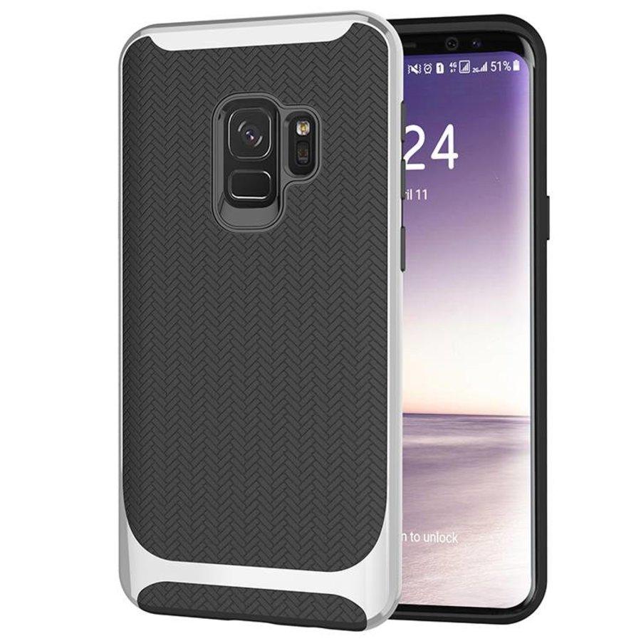 Samsung S9 Carbon Hybrid Telefoonhoesje - Zilver-1