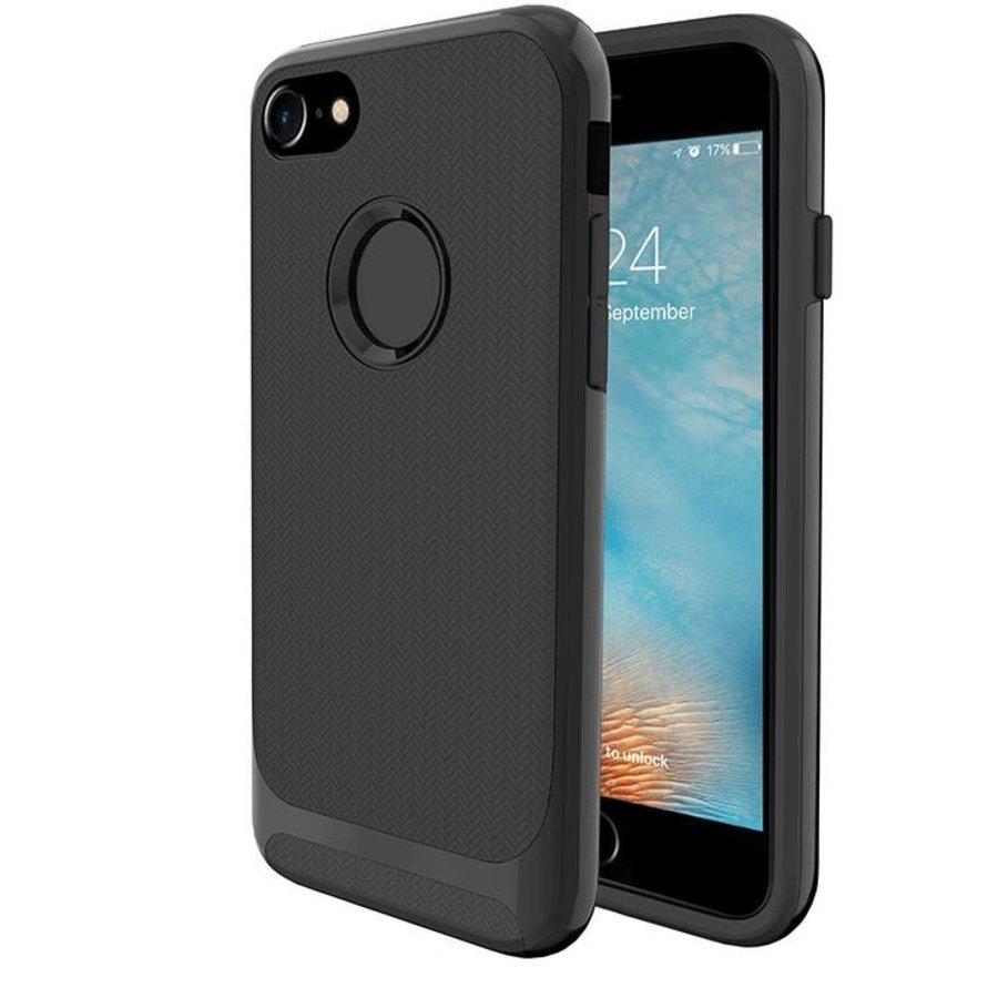 Apple Iphone 8 Slim Carbon hybrid telefoonhoesje - Zwart-1